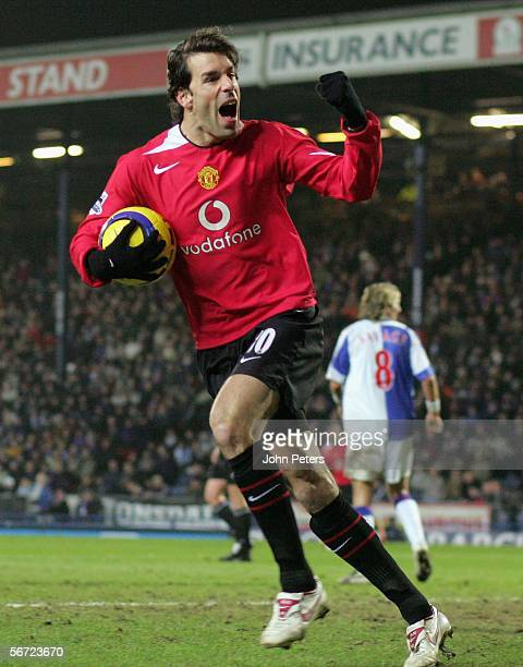 Ruud van Nistelrooy of Manchester United celebrates scoring their second goal during the Barclays Premiership match between Blackburn Rovers and...