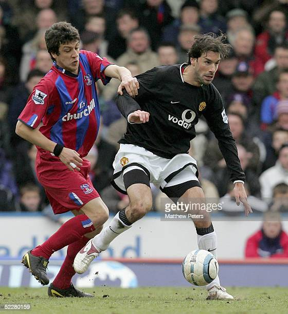 Ruud van Nistelrooy of Manchester United clashes with Gonzalo Sorondo of Crystal Palace during the Barclays Premiership match between Crystal Palace...