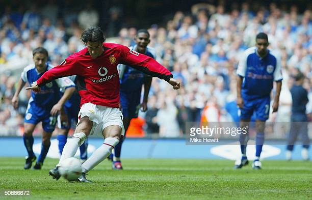 Ruud Van Nistelrooy of Manchester United scores their second goal during the 123rd FA Cup Final between Manchester United and Millwall at The...