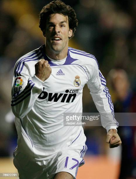 Ruud van Nistelrooy of Real Madrid celebrates his opening goal during the La Liga match between Levante and Real Madrid at the Ciutat de Valencia...