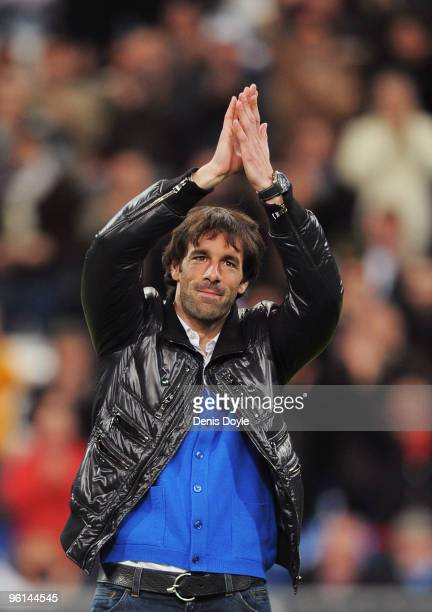 Ruud Van Nistelrooy of Real Madrid waves to the public at the Santiago Bernabeu stadium before the start of the La Liga match between Real Madrid and...