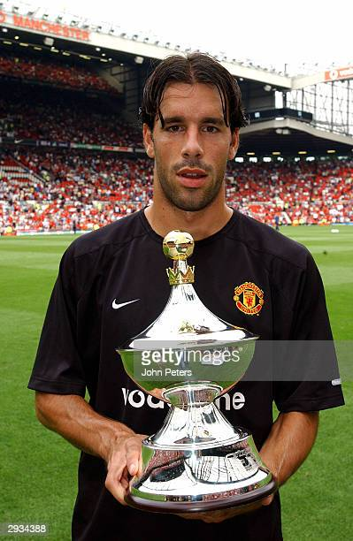 Ruud van Nistelrooy with the PFA player of the year award 20012002 season before the FA Premiership match between Manchester United v West Bromwich...