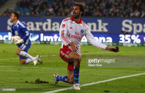 Ruud van Nistelroy of Hamburg looks dejected during the Bundesliga match between Hamburger SV and VFL Wolfsburg at Imtech Arena on September 22 2010...