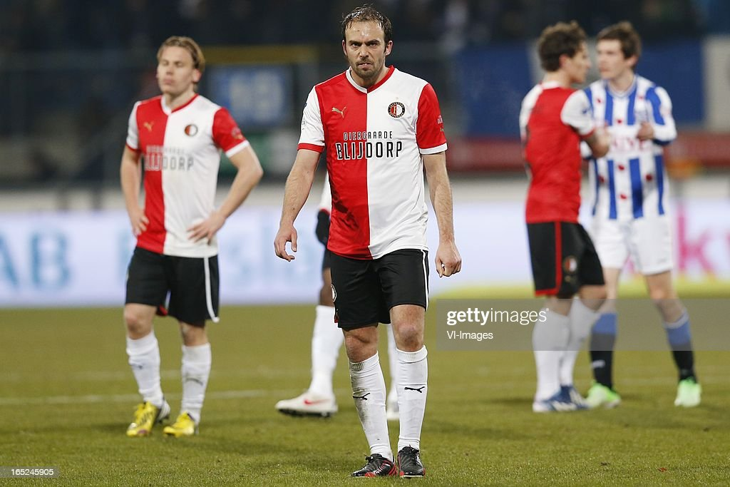 Ruud Vormer of Feyenoord ,Joris Mathijssen of Feyenoord during the Dutch Eredivisie match between SC Heerenveen and Feyenoord at the Abe Lenstra Stadium on march 30, 2013 in Heerenveen, The Netherlands
