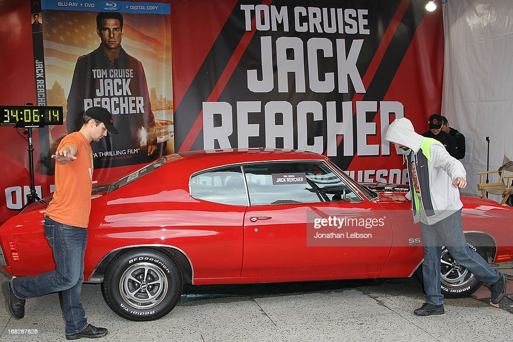 Ruuner-up Matt Waggoner and Winner Italo Ciccavelli at the 'Jack Reacher' Reach for Reacher Blu-Ray/DVD launch and 1971 Chevelle SS clone car giveaway at Hollywood & Highland Courtyard on May 7, 2013 in Hollywood, California.