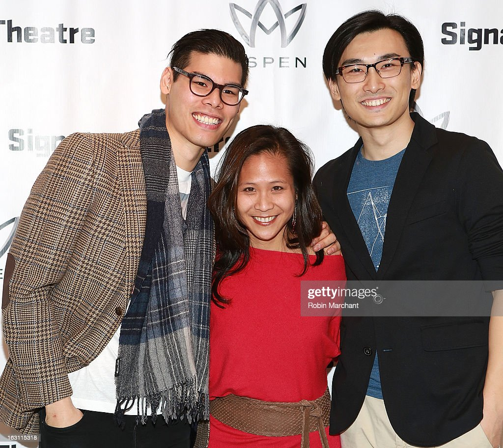 Ruy Iskandar, May Adrales and Yuekun Wu attend the 'Old Hats' Opening Night at Signature Theatre Company's The Pershing Square Signature Center on March 4, 2013 in New York City.