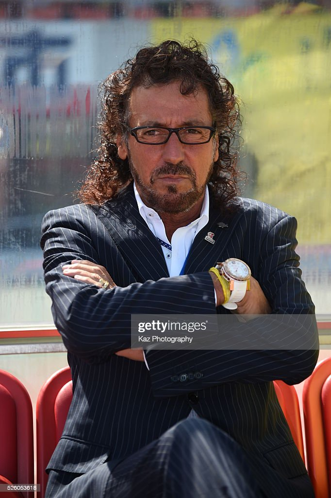 <a gi-track='captionPersonalityLinkClicked' href=/galleries/search?phrase=Ruy+Ramos&family=editorial&specificpeople=5533480 ng-click='$event.stopPropagation()'>Ruy Ramos</a>, manager of FC Gifu at the bench during the J.League match between FC Gifu and Renofa Yamaguchi at the Nagaragawa Stadium on April 29, 2016 in Nagoya, Japan.