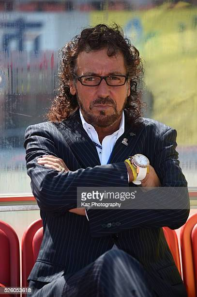 Ruy Ramos manager of FC Gifu at the bench during the JLeague match between FC Gifu and Renofa Yamaguchi at the Nagaragawa Stadium on April 29 2016 in...