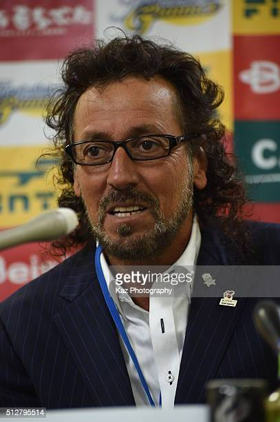 Ruy Ramos manager of FC Gifu at the press conference during the JLeague second division match between Thespa Kusatsu Gunma and FC Gifu at the Shoda...
