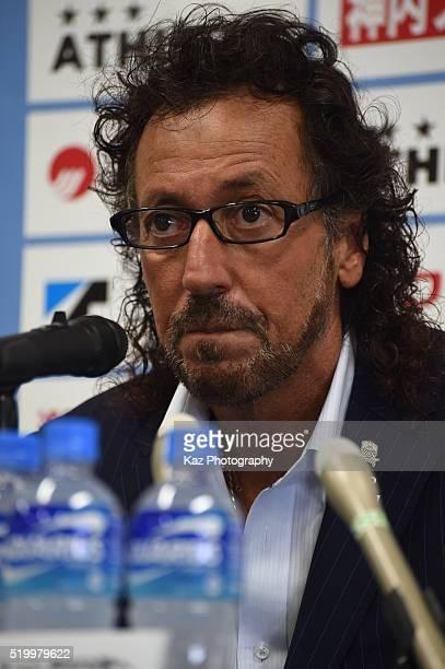 Ruy Ramos manager of FC Gifu at the press conferencey during the JLeague second division match between Kamatamare Sanuki and FC Gifu at the Pikara...