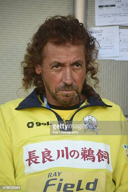Ruy Ramos manager of FC Gifu during the JLeague second division match between Jubilo Iwata and FC Gifu at Yamaha Stadium on June 21 2015 in Iwata...