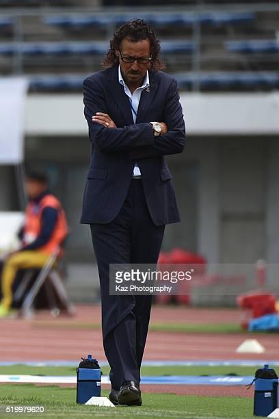 Ruy Ramos manager of FC Gifu during the JLeague second division match between Kamatamare Sanuki and FC Gifu at the Pikara Stadium on April 9 2016 in...