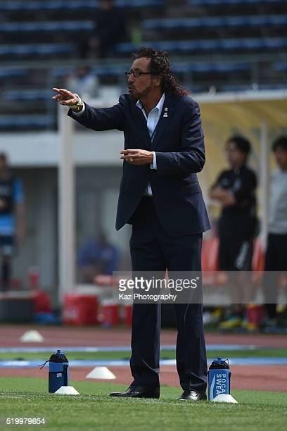 Ruy Ramos manager of FC Gifu instructs the players during the JLeague second division match between Kamatamare Sanuki and FC Gifu at the Pikara...