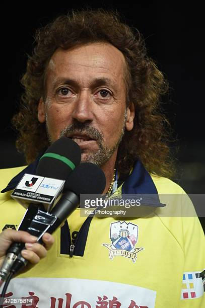 Ruy Ramos manager of FC Gifu interviewd during the JLeague second division match between FC Gifu and Ehime FC at Nagaragawa Stadium on May 10 2015 in...