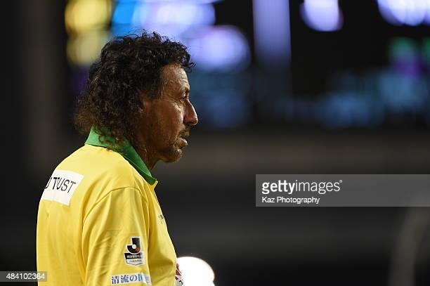 Ruy Ramos manager of FC Gifu watches the game during the JLeague second division match between Cerezo Osaka and FC Gifu at Kincho Stadium on August...