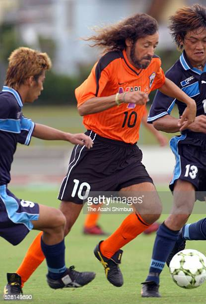 Ruy Ramos of Okinawa Kariyushi FC in action during the Kyushu Football Championship Final match between Okinawa Kariyushi FC and Kyushu INAX at the...