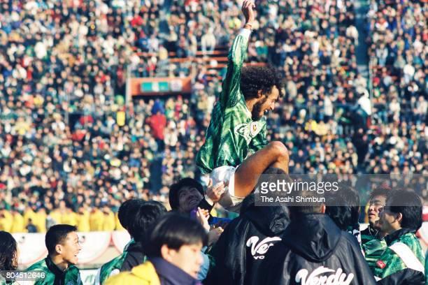 Ruy Ramos of Verdy Kawasaki celebrates the JLeague champions after the JLeague Championship second leg match between Verdy Kawasaki and Kashima...