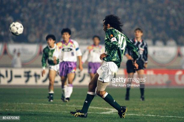 Ruy Ramos of Verdy Kawasaki scores the opening goal during the JLeague Championship second leg match between Verdy Kawasaki and Sanfrecce Hiroshima...