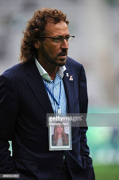 Ruy Ramoscoach of FC Gifu looks on during the JLeague second division match between Tokyo Verdy and FC Gifu at Ajinomoto Stadium on April 11 2015 in...