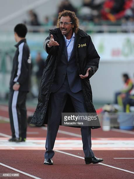 Ruy Ramoscoach of FC Gifu reacts during the JLeague second division match between FC Gifu and Matsumoto Yamaga at Nagaragawa Stadium on November 15...