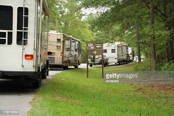 RVs in line at campground dump station