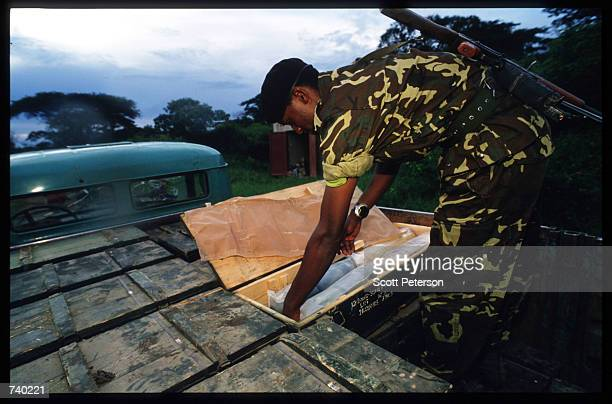 Rwanda Patriotic Front soldier captured at Kanombe on May 26 1994 in Kigali Rwanda A civil war erupts leading to the Rwandan slaughter of an...