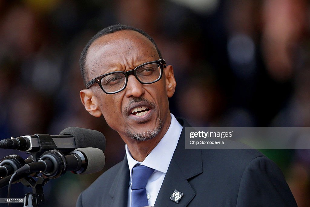 Rwandan President <a gi-track='captionPersonalityLinkClicked' href=/galleries/search?phrase=Paul+Kagame&family=editorial&specificpeople=601832 ng-click='$event.stopPropagation()'>Paul Kagame</a> addresses the commemoration of the 20th anniversary of his country's genocide at Amahoro Stadium April 7, 2014 in Kigali, Rwanda. Tens of thousands of Rwandans joined with leaders from around the world at the stadium to remember the country's 1994 genocide, when more than 800,000 ethnic Tutsi and moderate Hutus were slaughtered over a 100 day period.