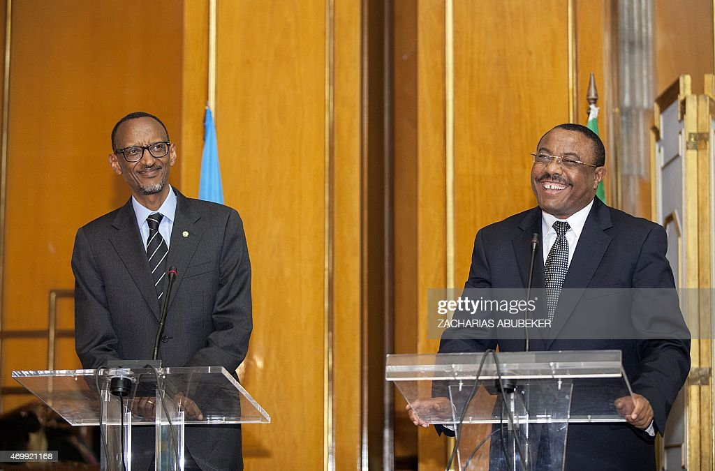 Rwandan President <a gi-track='captionPersonalityLinkClicked' href=/galleries/search?phrase=Paul+Kagame&family=editorial&specificpeople=601832 ng-click='$event.stopPropagation()'>Paul Kagame</a> (L) amd Ethiopian Prime Minister <a gi-track='captionPersonalityLinkClicked' href=/galleries/search?phrase=Hailemariam+Desalegn&family=editorial&specificpeople=7752700 ng-click='$event.stopPropagation()'>Hailemariam Desalegn</a> hold a press conference at the National Palace in Addis Ababa, Ethiopia, on April 16, 2015. Kagame is in Ethiopia to visit some industrial sites as well as to attend the Tana High Level Forum in Bahir Dar city. AFP PHOTO / Zacharias Abubeker