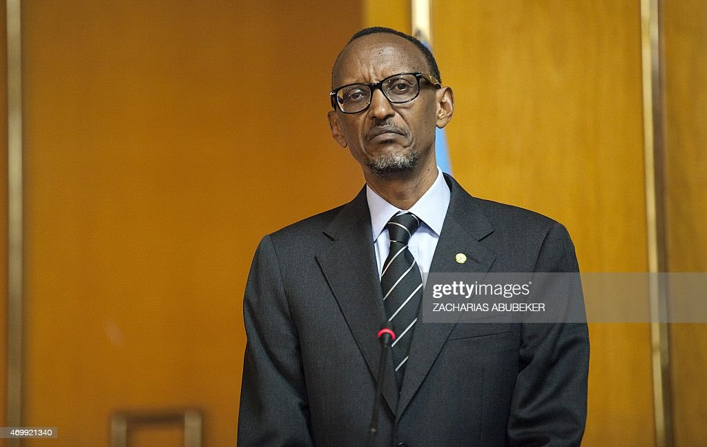 Rwandan President <a gi-track='captionPersonalityLinkClicked' href=/galleries/search?phrase=Paul+Kagame&family=editorial&specificpeople=601832 ng-click='$event.stopPropagation()'>Paul Kagame</a> attends a press conference with Ethiopia's Prime Minister at the National Palace in Addis Ababa, Ethiopia, on April 16, 2015. Kagame is in Ethiopia to visit some industrial sites as well as to attend the Tana High Level Forum in Bahir Dar city. AFP PHOTO / Zacharias Abubeker