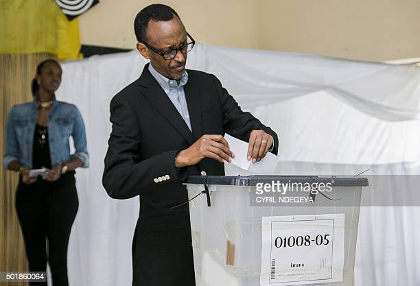 Rwandan President Paul Kagame casts his ballot in Kigali on December 182015 in a referendum to amend the constitution allowing him to rule until 2034...