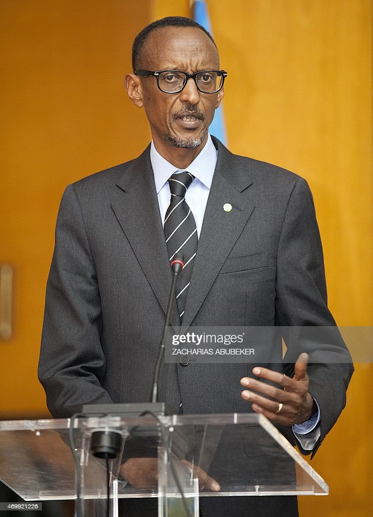 Rwandan President <a gi-track='captionPersonalityLinkClicked' href=/galleries/search?phrase=Paul+Kagame&family=editorial&specificpeople=601832 ng-click='$event.stopPropagation()'>Paul Kagame</a> talks during a press conference with Ethiopia's Prime Minister at the National Palace in Addis Ababa, Ethiopia, on April 16, 2015. Kagame is in Ethiopia to visit some industrial sites as well as to attend the Tana High Level Forum in Bahir Dar city. AFP PHOTO / Zacharias Abubeker