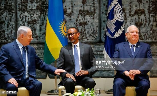 Rwanda's President Paul Kagame chats with Israeli Prime Minister Benjamin Netanyahu and Israeli President Reuven Rivlin during their meeting at the...