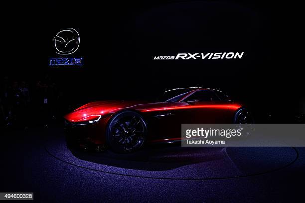 Vision is displayed at the Mazda booth during the media preview ahead of The 44th Tokyo Motor Show 2015 at Tokyo Big Sight on October 28 2015 in...
