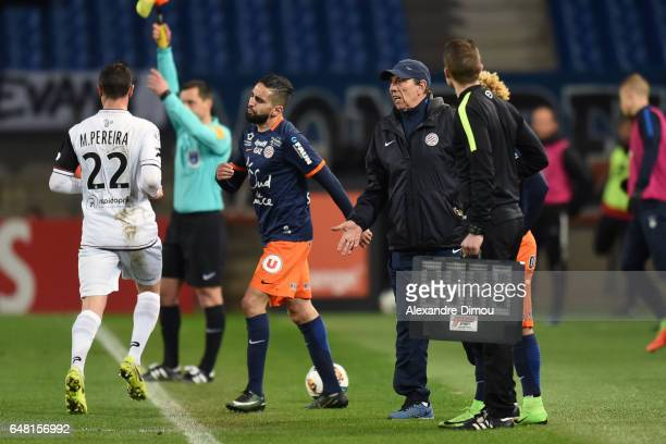 Ryad Boudebouz and Jean Louis Gasset Coach of Montpellier during the French Ligue 1 match between Montpellier and Guingamp at Stade de la Mosson on...