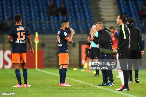 Ryad Boudebouz and Pascel Baills Assistant Coach of Montpellier during the Ligue 1 match between Montpellier Herault SC and Fc Lorient at Stade de la...