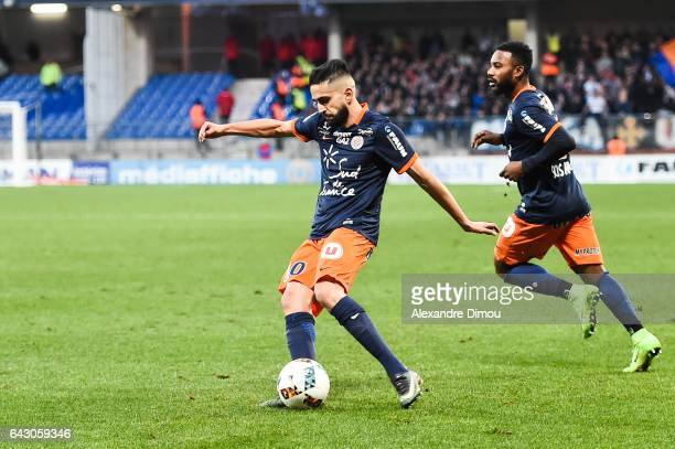 Ryad Boudebouz and Stephane Sessegnon of Montpellier during the French Ligue 1 match between Montpellier and Saint Etienne at Stade de la Mosson on...