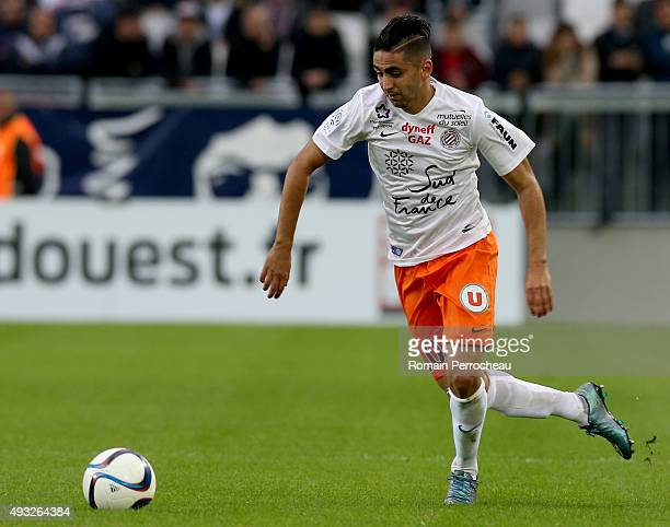 Ryad Boudebouz for Montpellier Herault SC in action during the French Ligue 1 game between FC Girondins de Bordeaux and Montpellier Herault SC at...