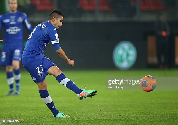 Ryad Boudebouz of Bastia in action during the french Ligue 1 match between Valenciennes FC and SC Bastia at the Stade du Hainaut on January 11 2014...