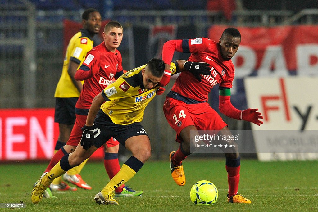 Ryad Boudebouz of FC Sochaux-Montbeliard and Blaise Matuidi of Paris Saint-Germain FC compete for the ball during the French League 1 football match between FC Sochaux-Montbeliard and Paris Saint-Germain FC at Stade Auguste Bonal on February 17, 2013 in Montbeliard, France.