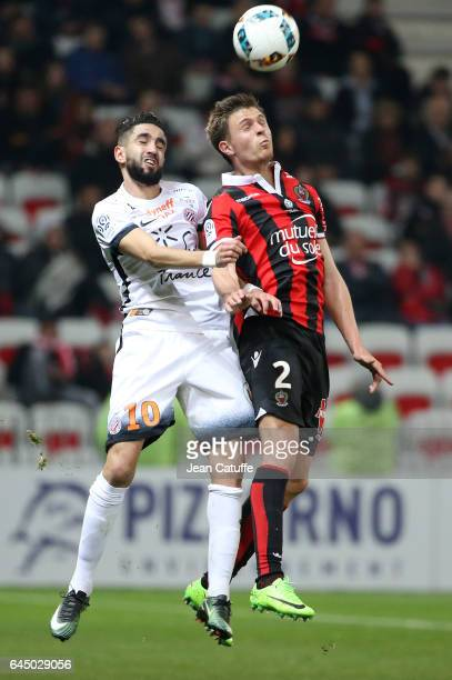 Ryad Boudebouz of Montepellier and Arnaud Souquet of Nice in action during the French Ligue 1 match between OGC Nice and Monptellier Herault SC at...