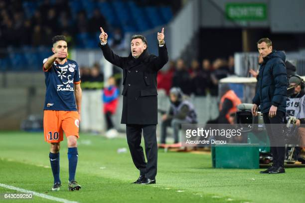 Ryad Boudebouz of Montpellier and Christophe Galtier Coach of Saint Etienne during the French Ligue 1 match between Montpellier and Saint Etienne at...