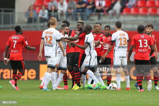 Ryad Boudebouz of Montpellier and Joris Gnagnon of Rennes during the Ligue 1 match between Stade Rennais and Montpellier Herault at Roazhon Park on...