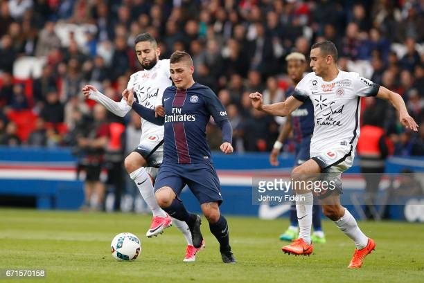 Ryad Boudebouz of Montpellier and Marco Verratti of Paris Saint Germain during the French Ligue 1 match between Paris Saint Germain and Montpellier...