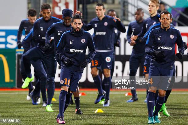 Ryad Boudebouz of Montpellier and Vitorino Hilton of Montpellier during the Ligue 1 match between As Nancy Lorraine and Montpellier Herault at Stade...