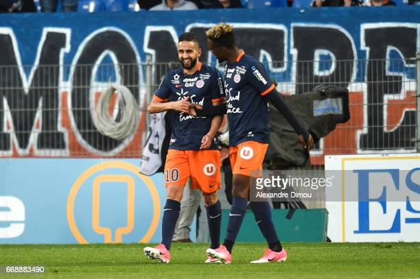 Ryad Boudebouz of Montpellier celebrates the first goal of Montpellier during the Ligue 1 match between Montpellier Herault SC and Fc Lorient at...