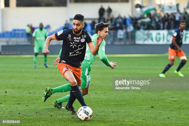 Ryad Boudebouz of Montpellier during the French Ligue 1 match between Montpellier and Saint Etienne at Stade de la Mosson on February 19 2017 in...