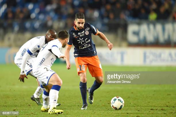 Ryad Boudebouz of Montpellier during the Ligue 1 match between Montpellier Herault and SC Bastia at Stade de la Mosson on February 4 2017 in...