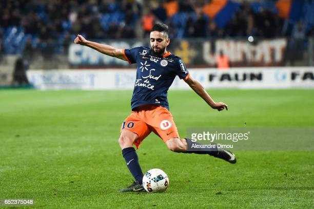 Ryad Boudebouz of Montpellier during the Ligue 1 match between Montpellier Herault and Fc Nantes at Stade de la Mosson on March 11 2017 in...