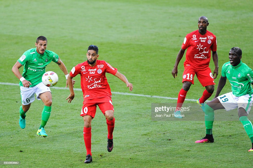 Ryad BOUDEBOUZ of Montpellier during the Ligue 1 match between As Saint Etienne and Montpellier Herault at Stade GeoffroyGuichard on August 21 2016...