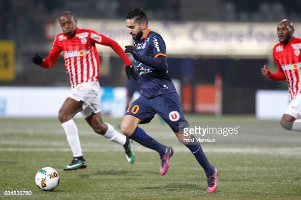 Ryad Boudebouz of Montpellier during the Ligue 1 match between As Nancy Lorraine and Montpellier Herault at Stade Marcel Picot on February 11 2017 in...